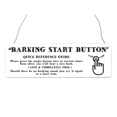Schild Barking Button